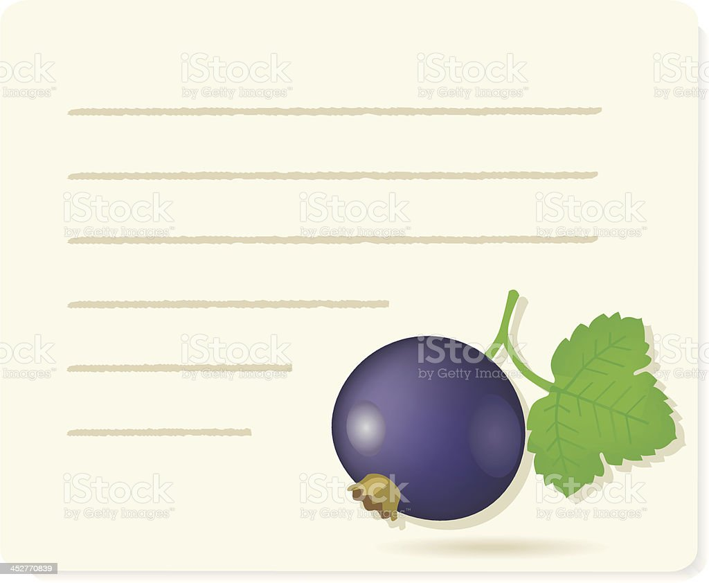 black currantfruit on recipepaper (cassis). royalty-free stock vector art