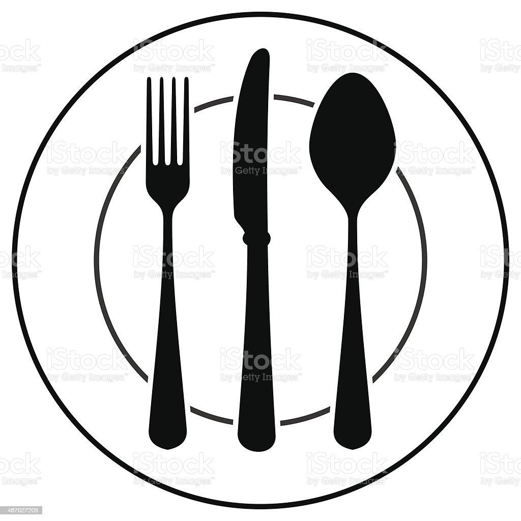 Black Cutlery Symbol vector art illustration