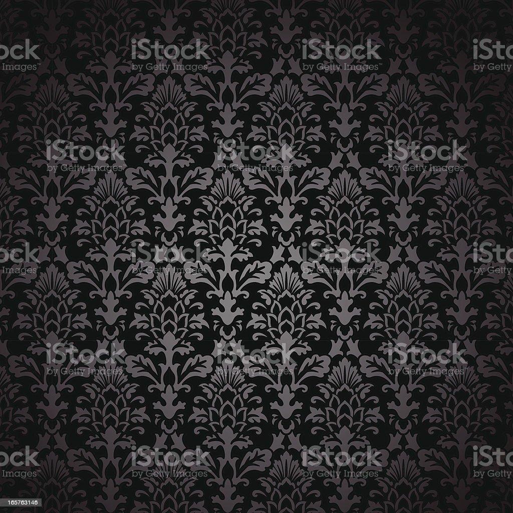 Black Damask Pattern vector art illustration