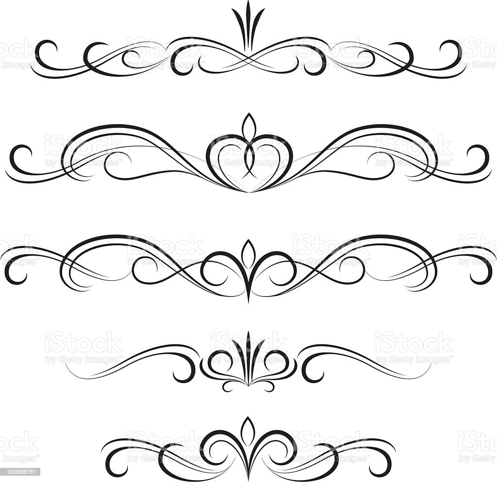 Black decorative curly elements and ornaments royalty-free stock vector art
