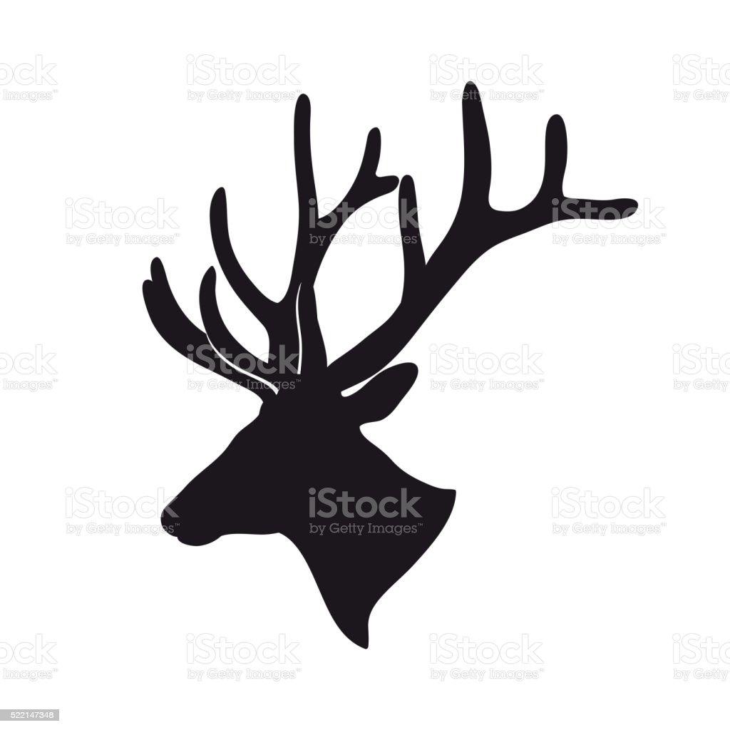 black deer antlered vector art illustration