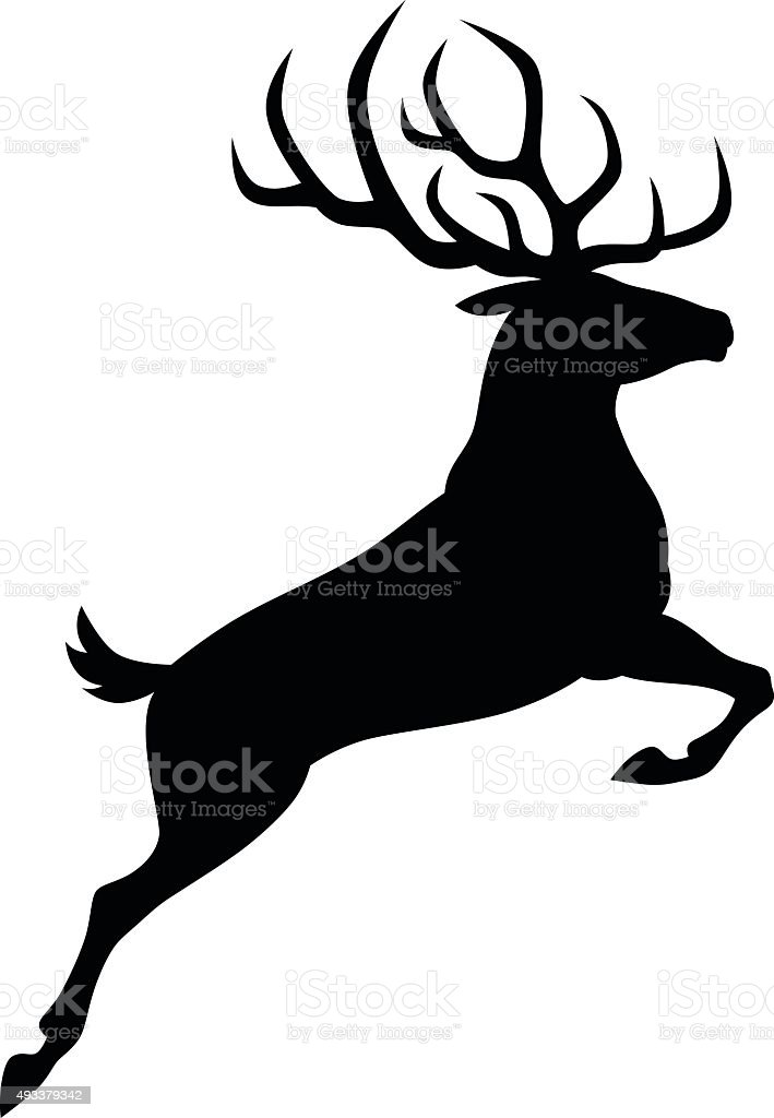 Black deer vector art illustration