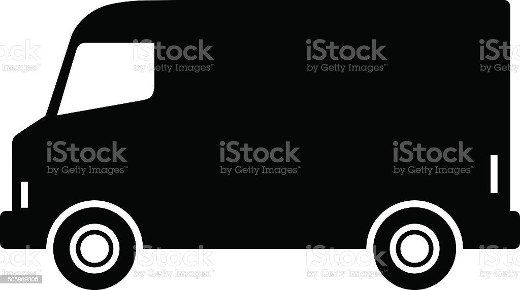 Black delivery van vector art illustration