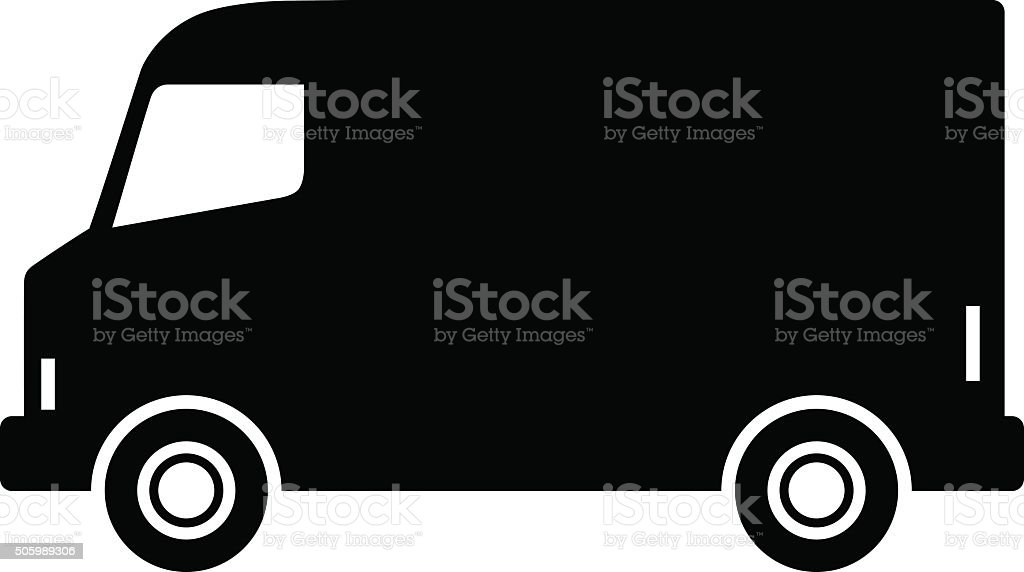 Black delivery van vector art illustration