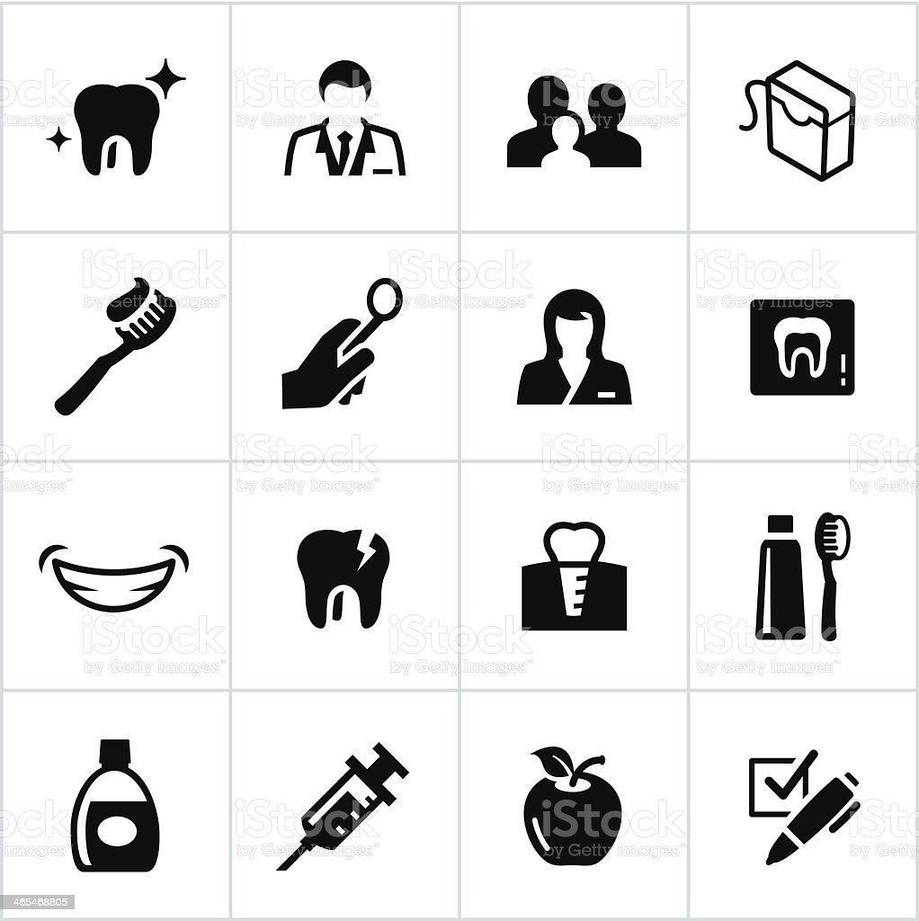 Black Dentist Icons vector art illustration