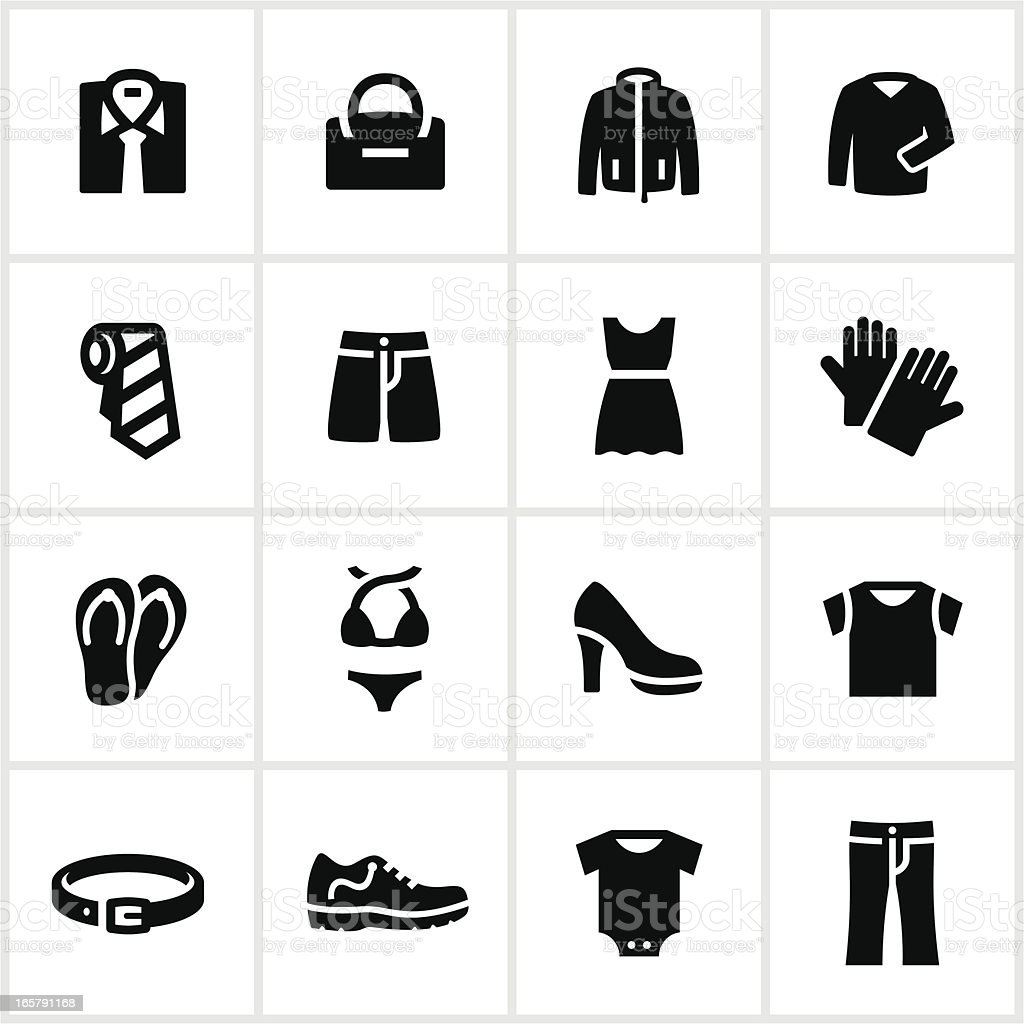 Black Department Store Clothing Icons vector art illustration