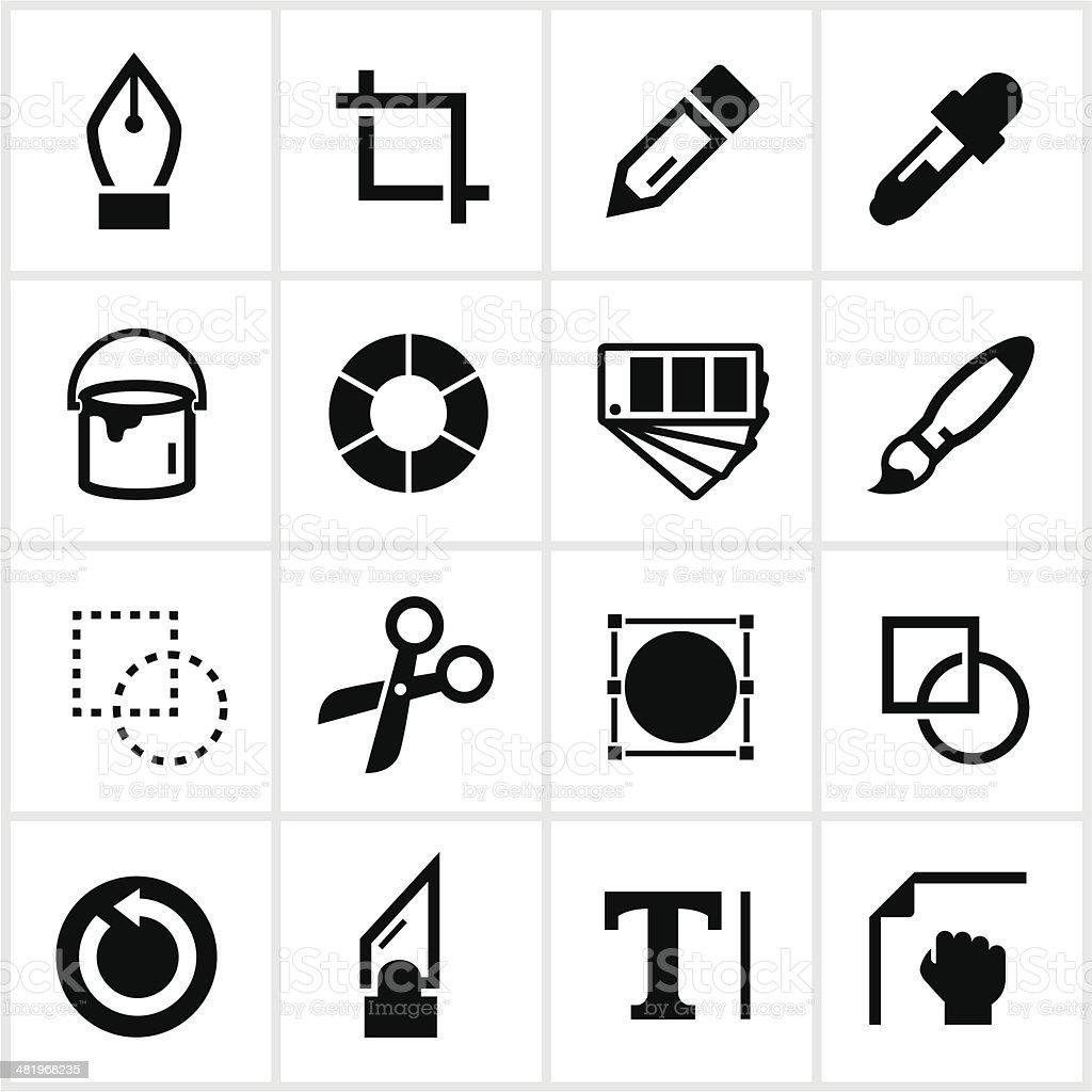 Black Design Tools Icons vector art illustration