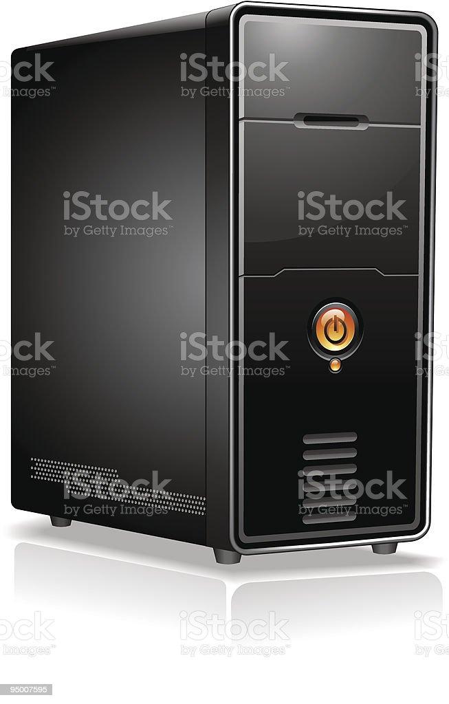 Black desktop computer drive case on white background vector art illustration