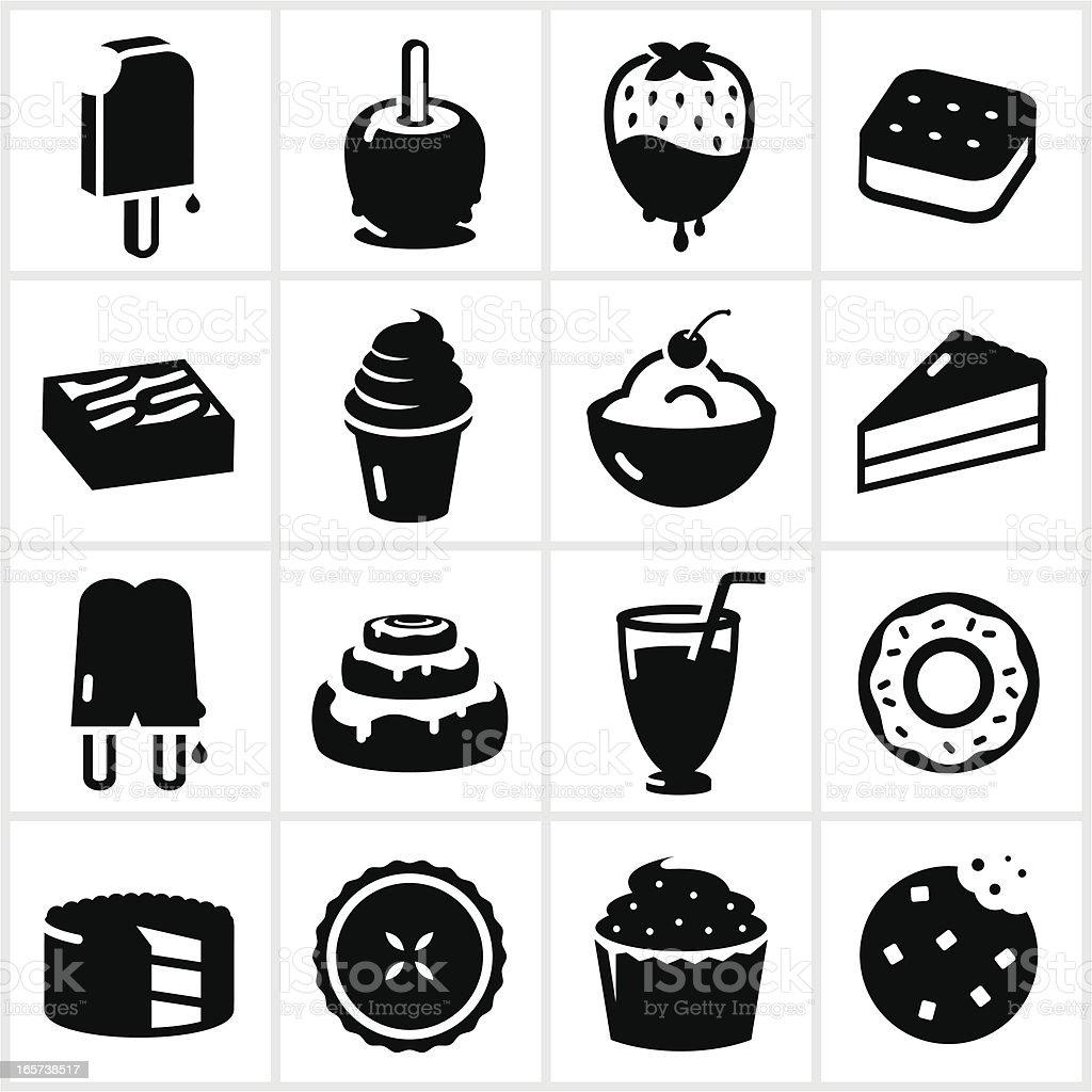 Black Dessert Icons vector art illustration