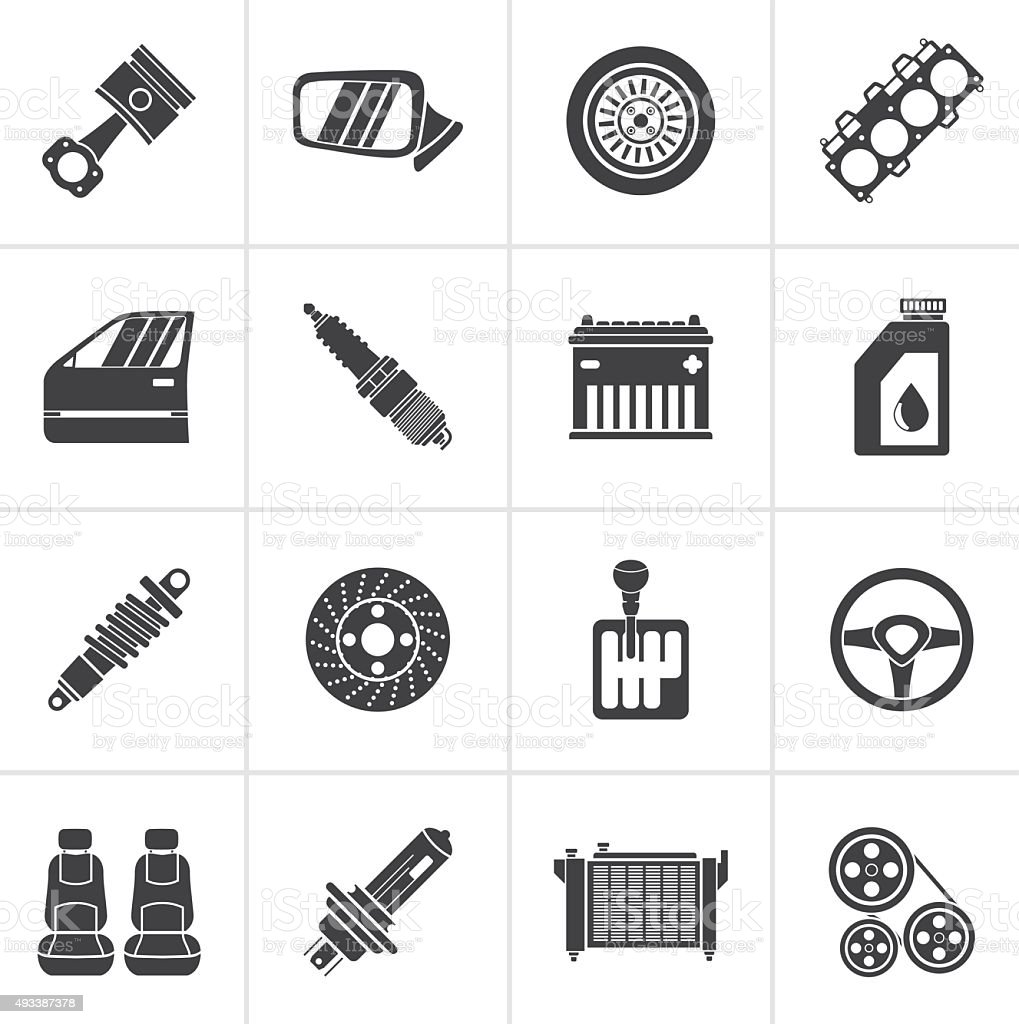 Black Detailed car parts icons vector art illustration
