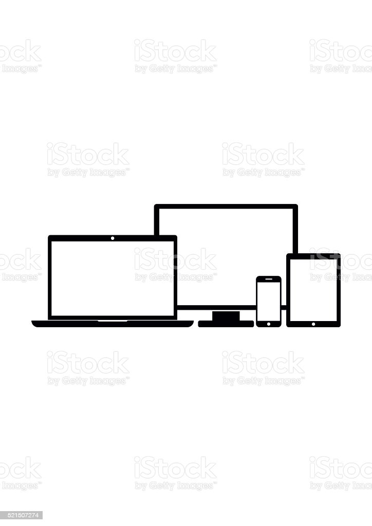 Black Device Icons in flat style isolated on white background. vector art illustration
