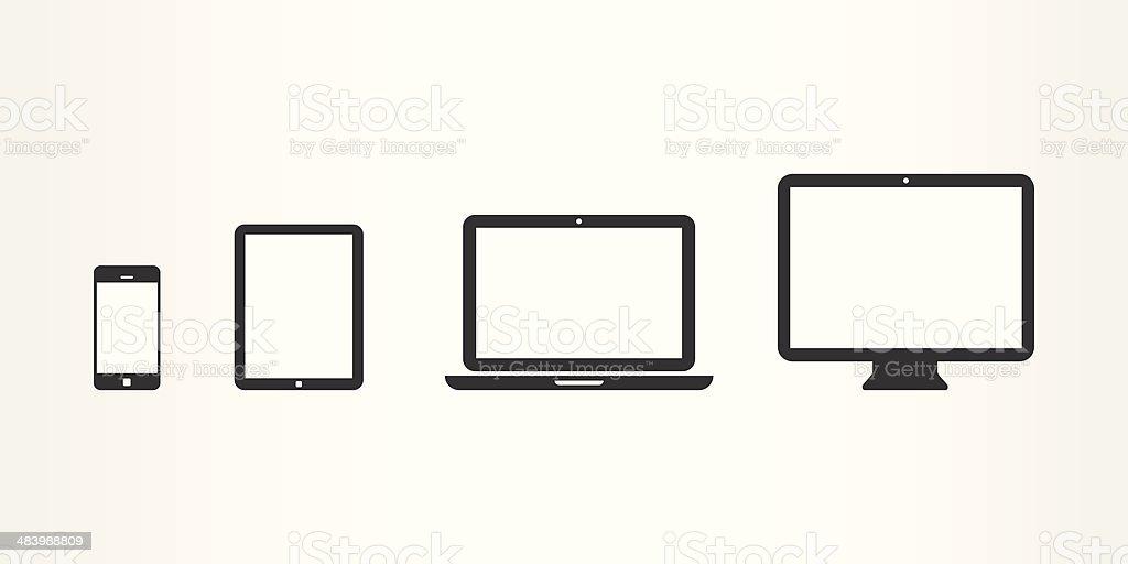 Black device icons vector art illustration