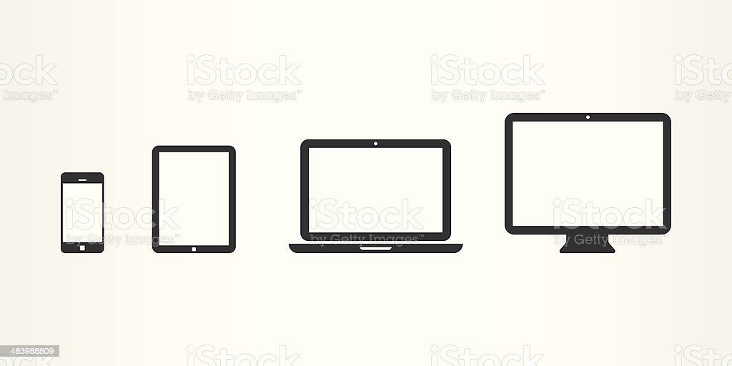 Black device icons vector art illustration