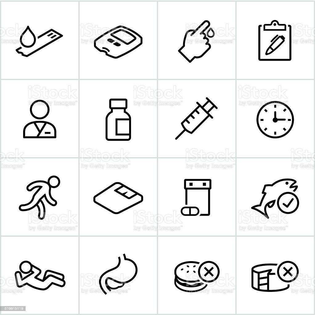 Black Diabetes Icons - Line Style vector art illustration