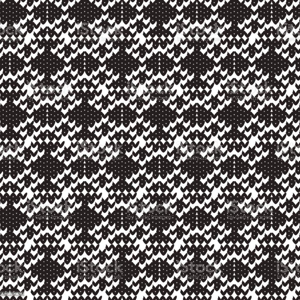 black diamond shape knitting overlapped pattern background vector art illustration