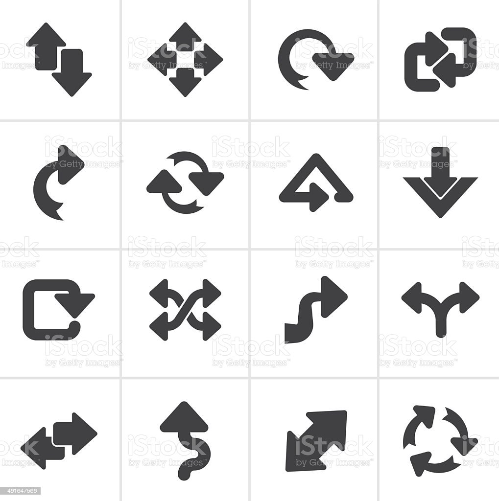 Black different kind of arrows icons vector art illustration