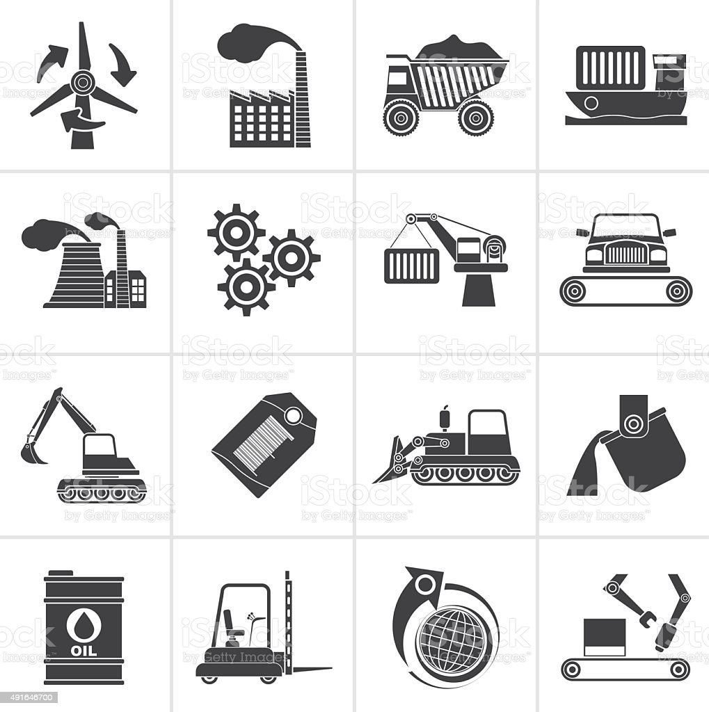 Black different kind of business and industry icons vector art illustration