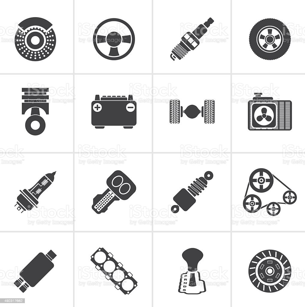 Black Different kind of car parts icons vector art illustration