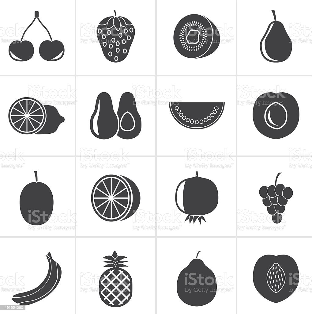 Black Different kind of fruit and icons vector art illustration