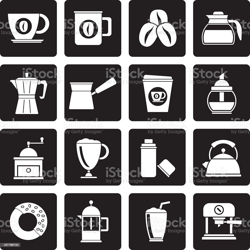 Black different types of coffee industry icons vector art illustration