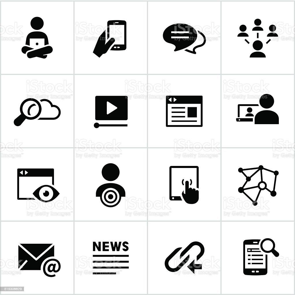 Black Digital Marketing Icons vector art illustration