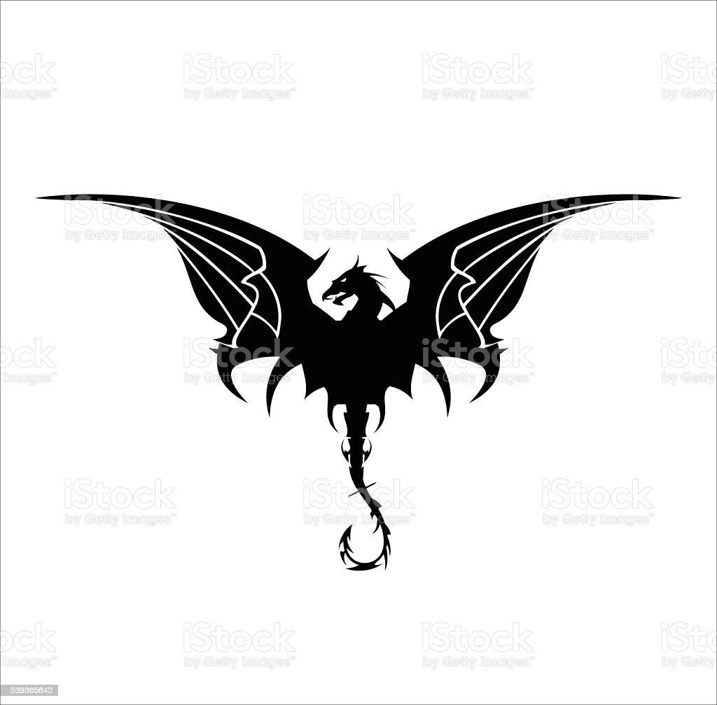 Black Dragon, Dragon, spreading its wing. Elegant Black Dragon with the bending tail, vector art illustration