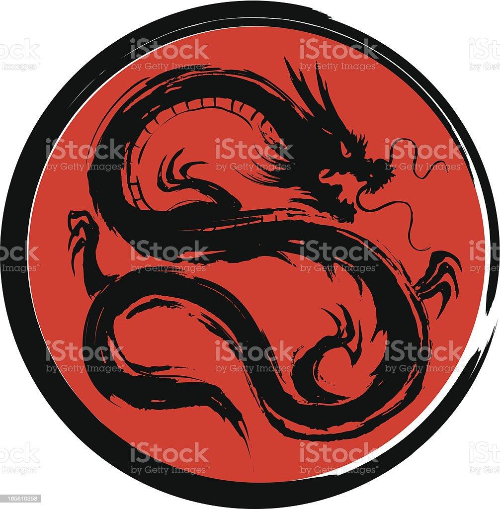 Black dragon vector art illustration