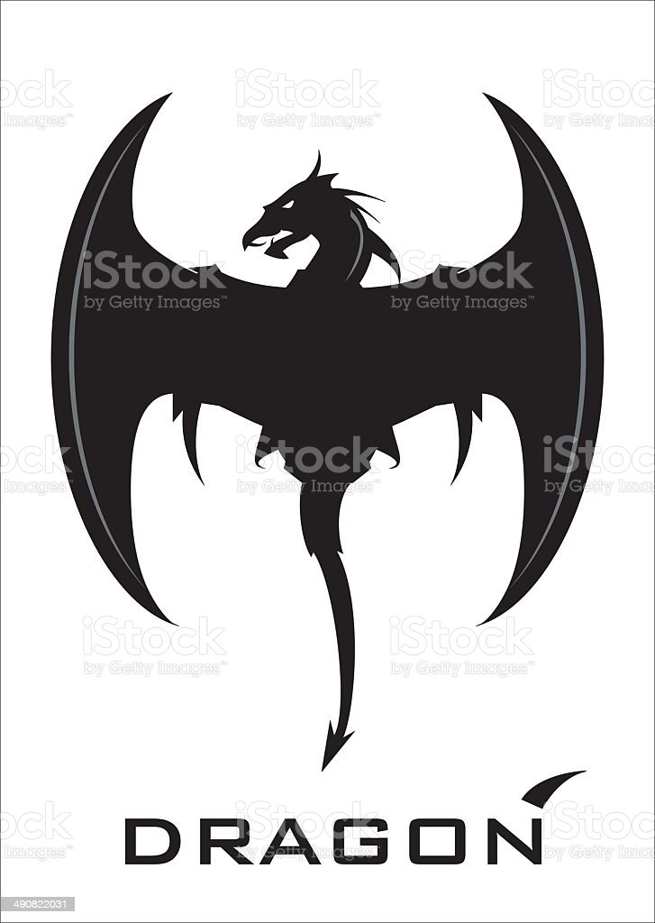 Black Dragon with the axe wing and whip tail vector art illustration