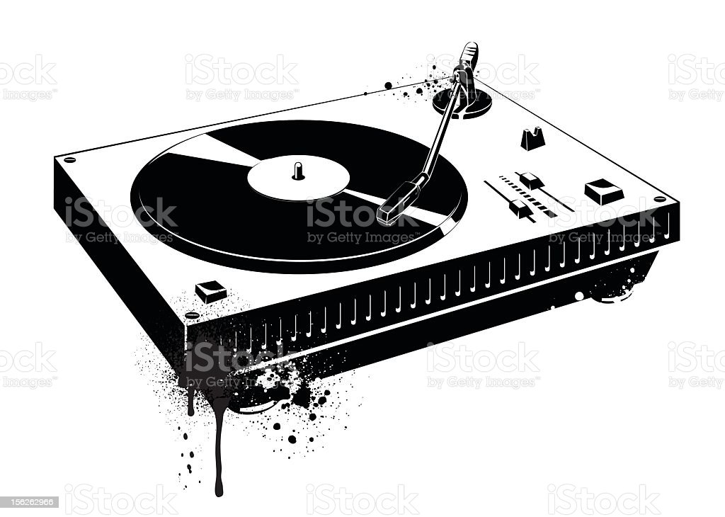 A black drawing of a record turntable royalty-free stock vector art