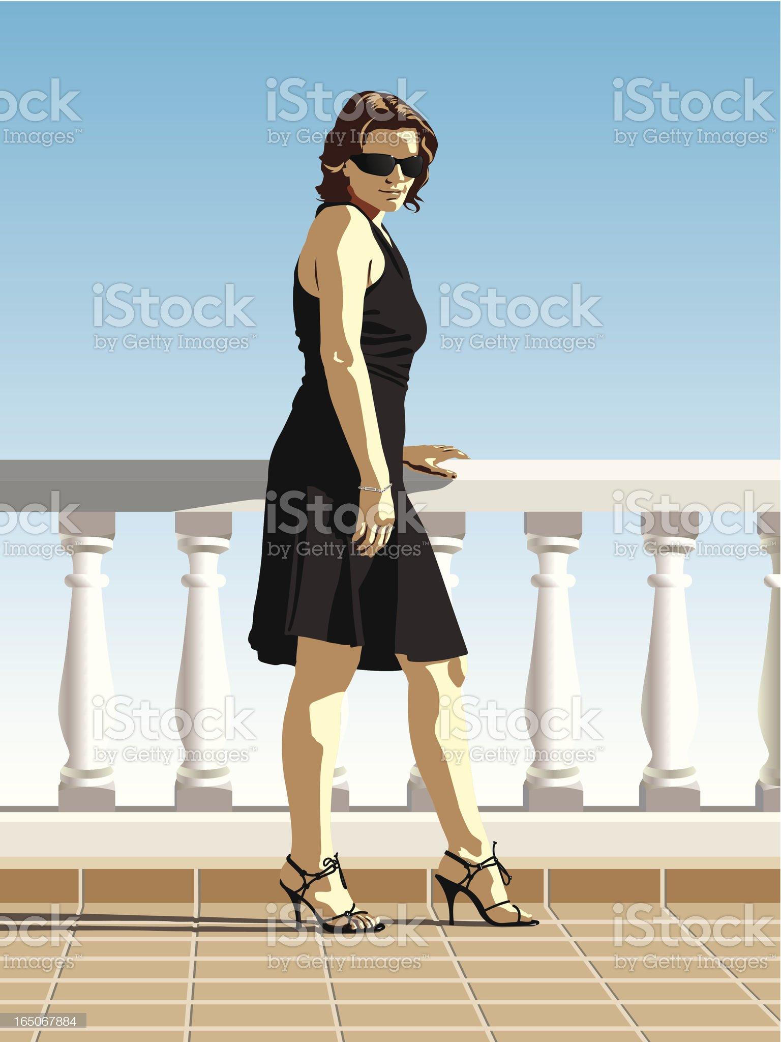 Black Dress, Sunny Day royalty-free stock vector art