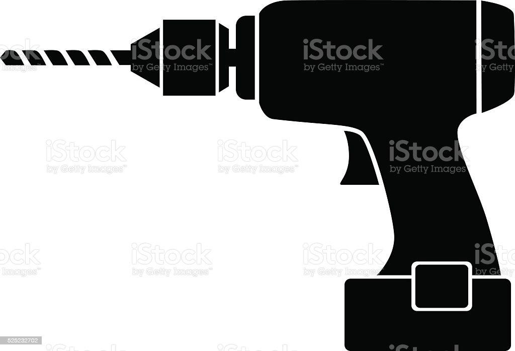 Black drill icon vector art illustration