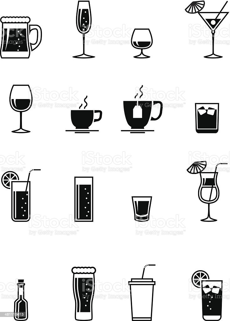 Black drinks icon vector art illustration