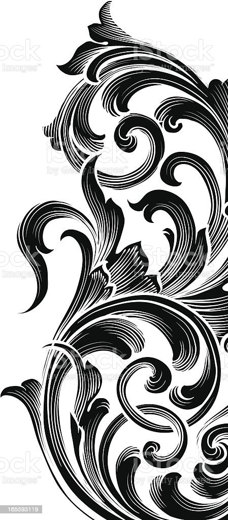 Black Edge Scroll royalty-free stock vector art