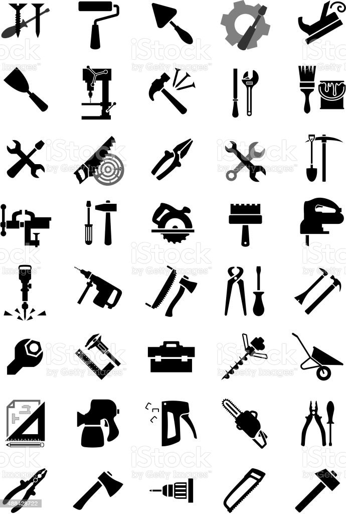 Black electric and manual tool icons vector art illustration