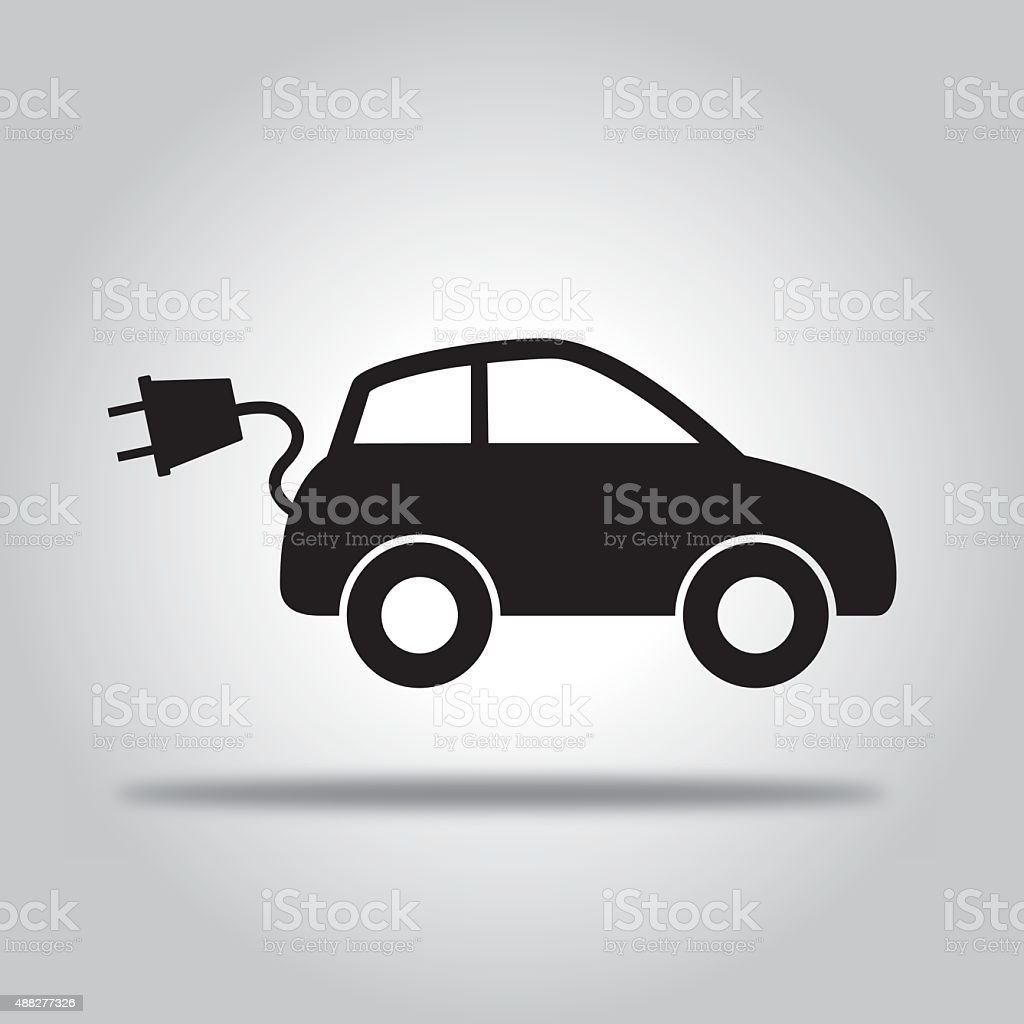 Black Electric Car vector art illustration