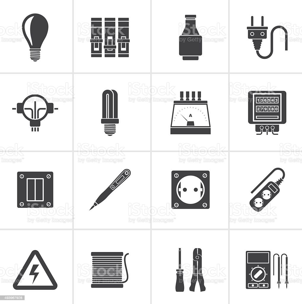 Black Electrical devices and equipment icons vector art illustration