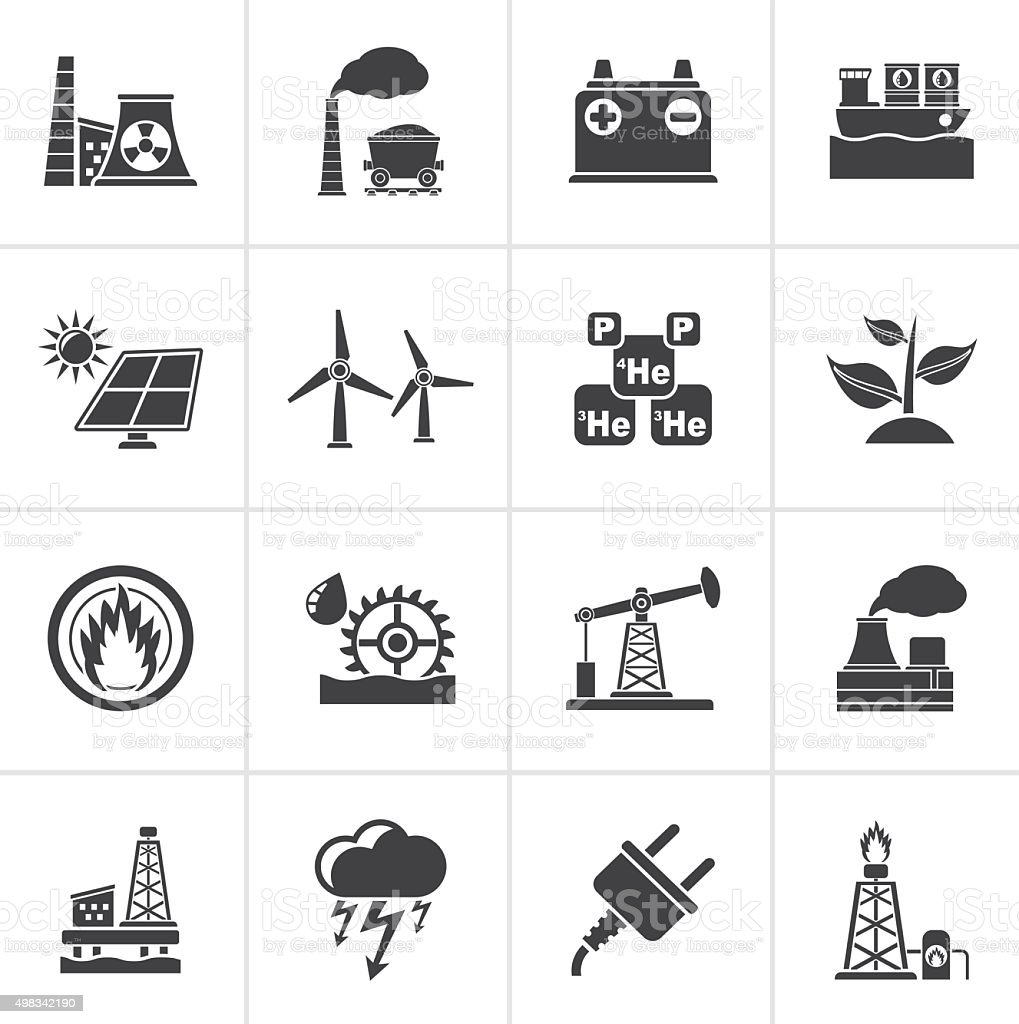 Black Electricity and Energy source icons vector art illustration