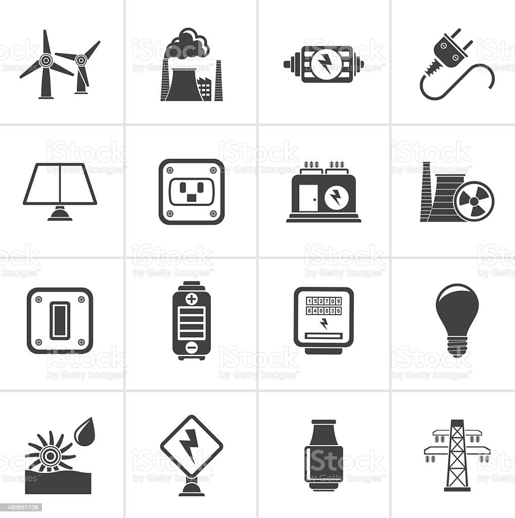 Black electricity, power and energy icons vector art illustration