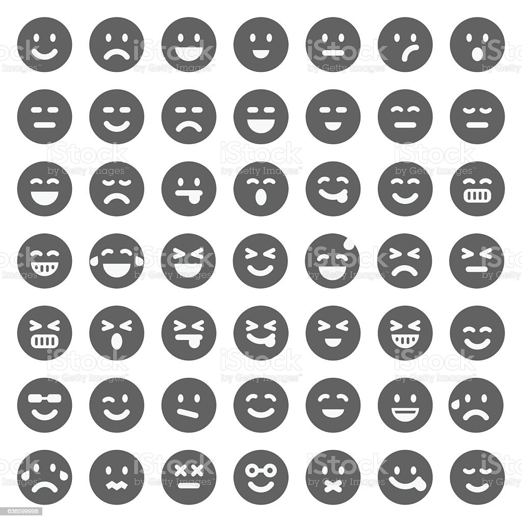 Black emoji collection vector art illustration