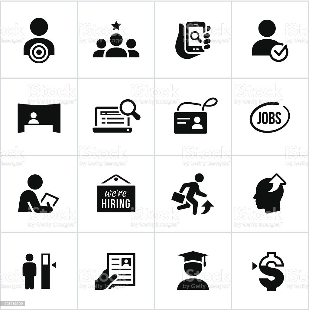 Black Employment Icons vector art illustration