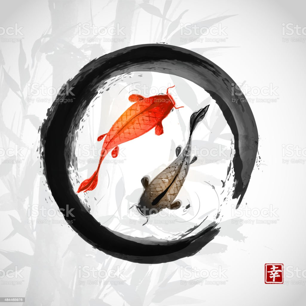 Black enso zen circle with red and black fishes vector art illustration