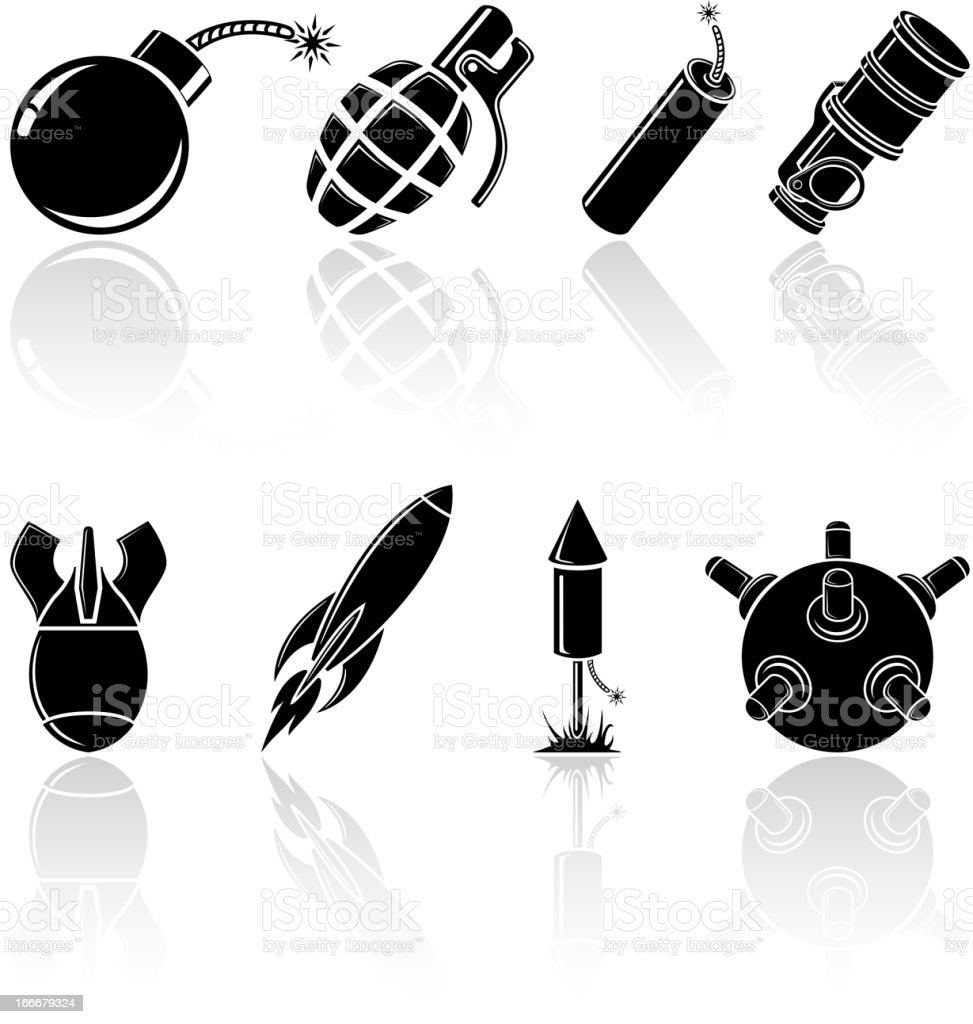 Black explosive icons royalty-free stock vector art