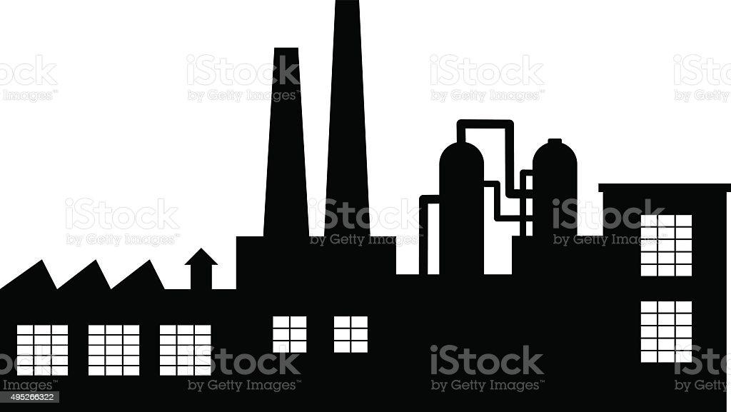 Black factory icon vector art illustration