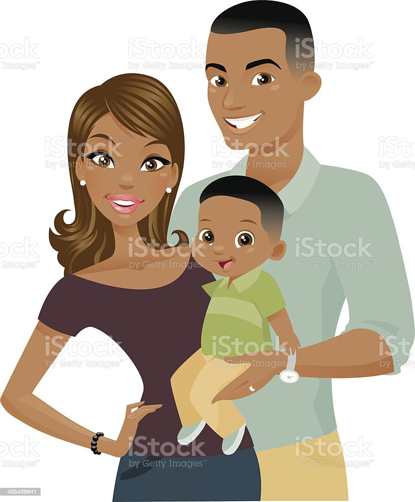 Black Family vector art illustration