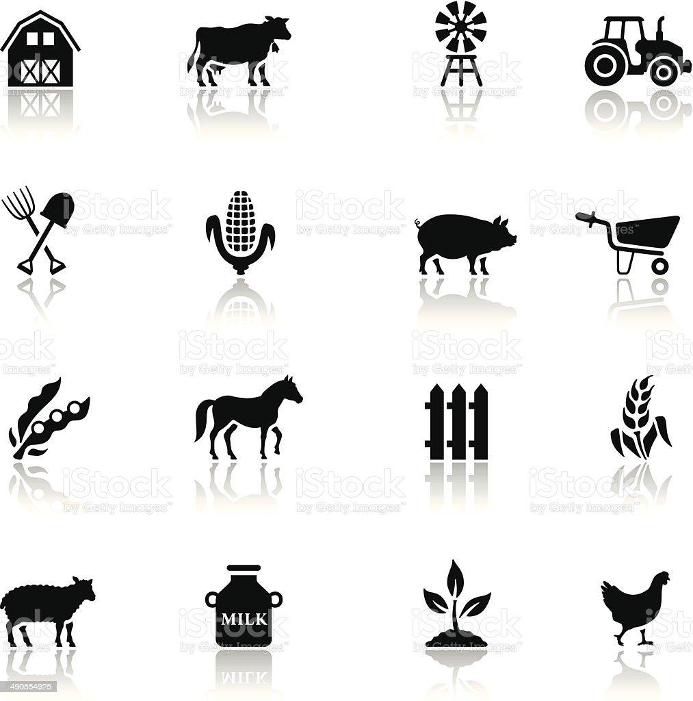 Black Farm Icon Set vector art illustration