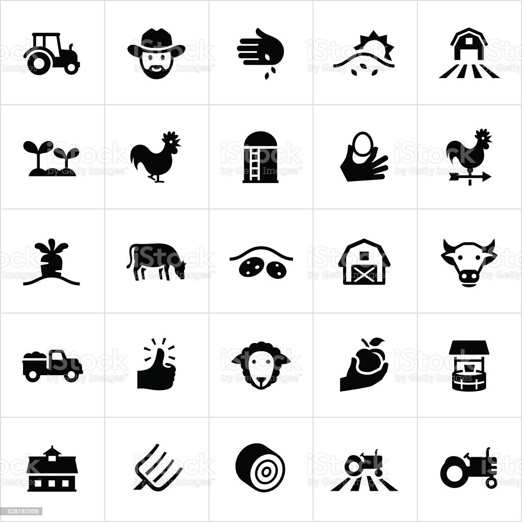Black Farming and Agriculture Icons vector art illustration
