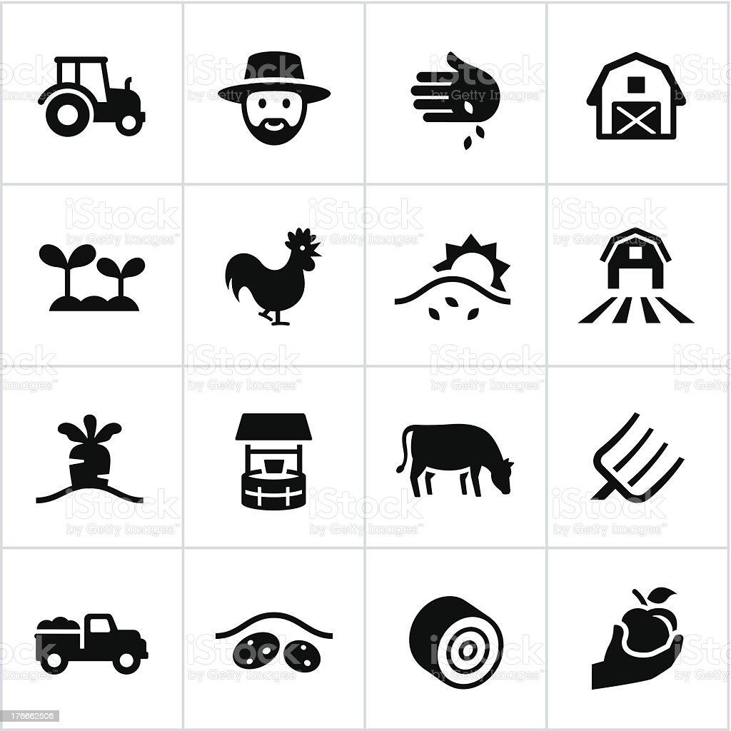 Black Farming Icons vector art illustration