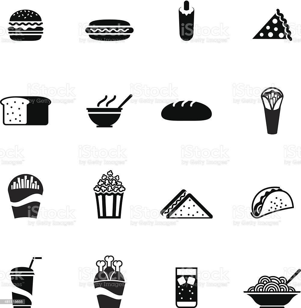 Black fast food icon vector art illustration