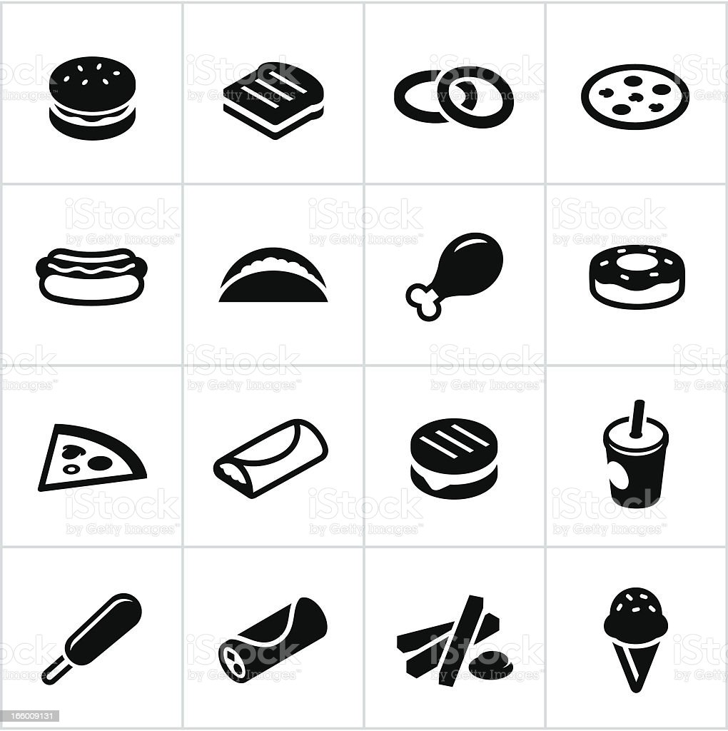 Black Fast Food Icons vector art illustration