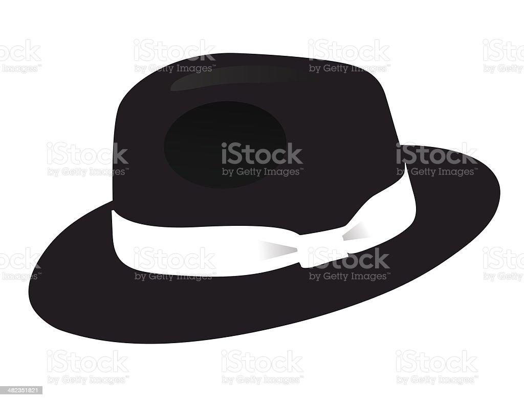 Black Fedora hat vector art illustration